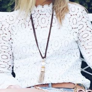 Leather & Pearl Tassel Necklace