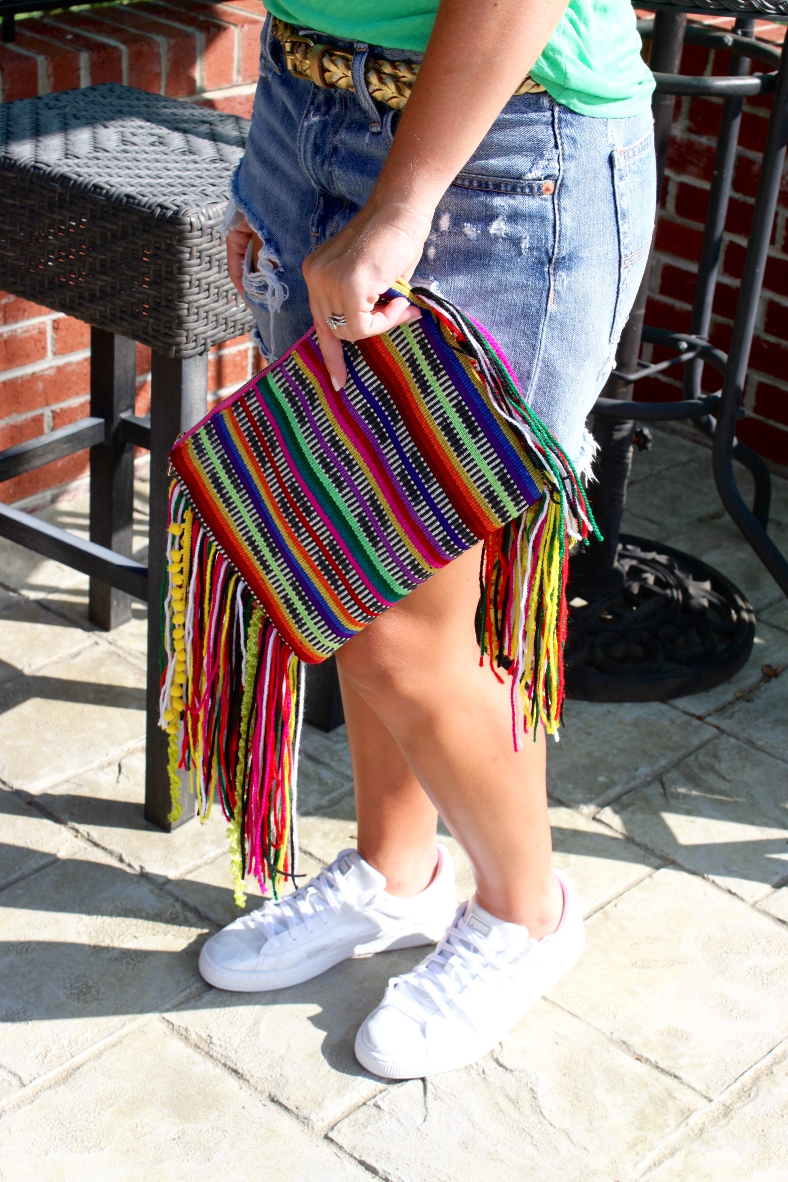rainbow fringe clutch