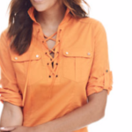 MADISON POPOVER SHIRT - LACE-UP