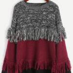 Color Block Fringe Detailed Sweater