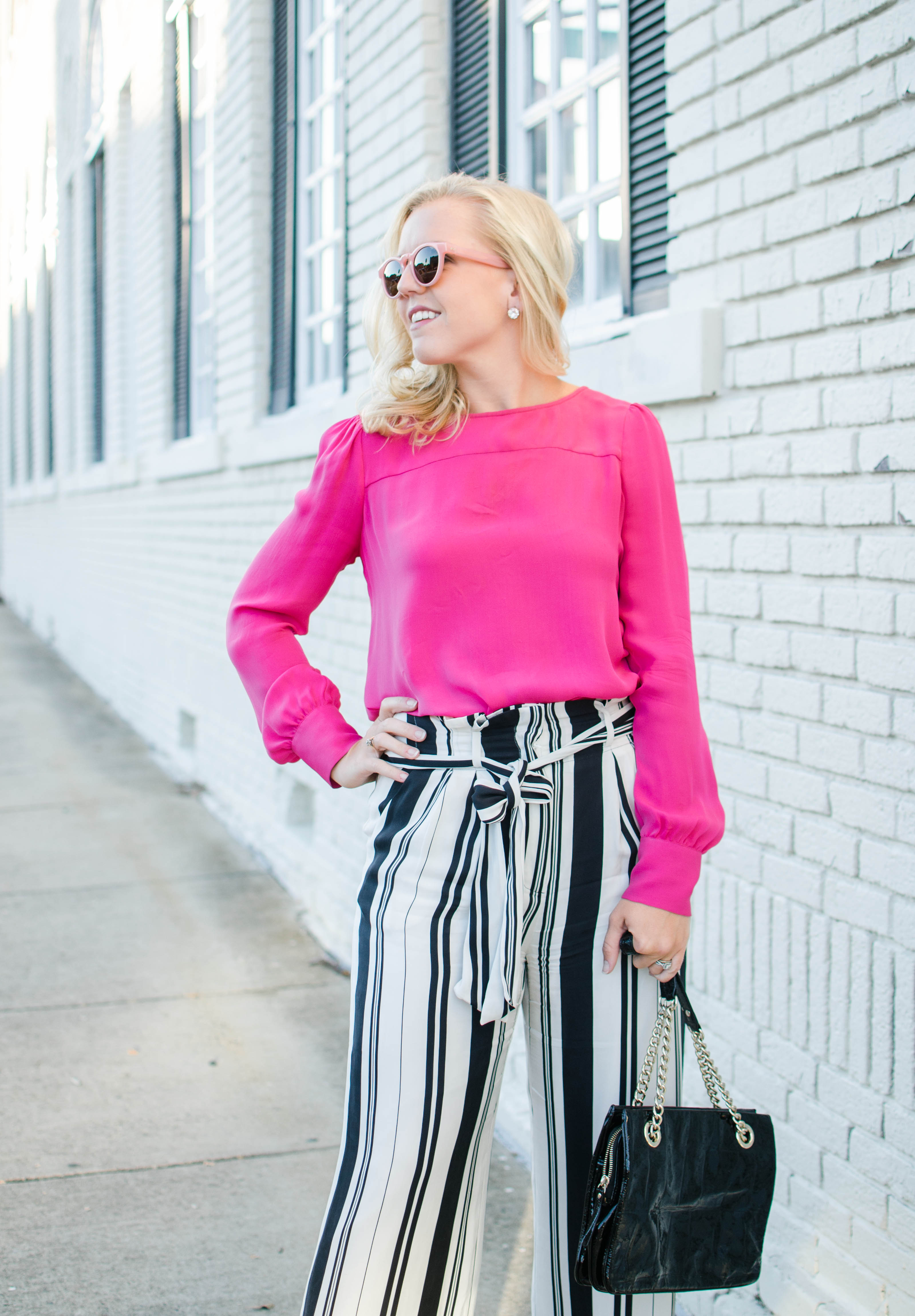pink top stripe wide leg pants