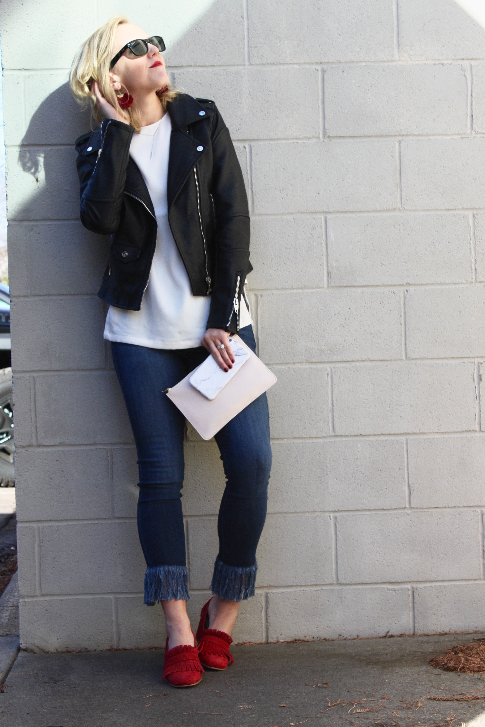 moto jacket look red loafers