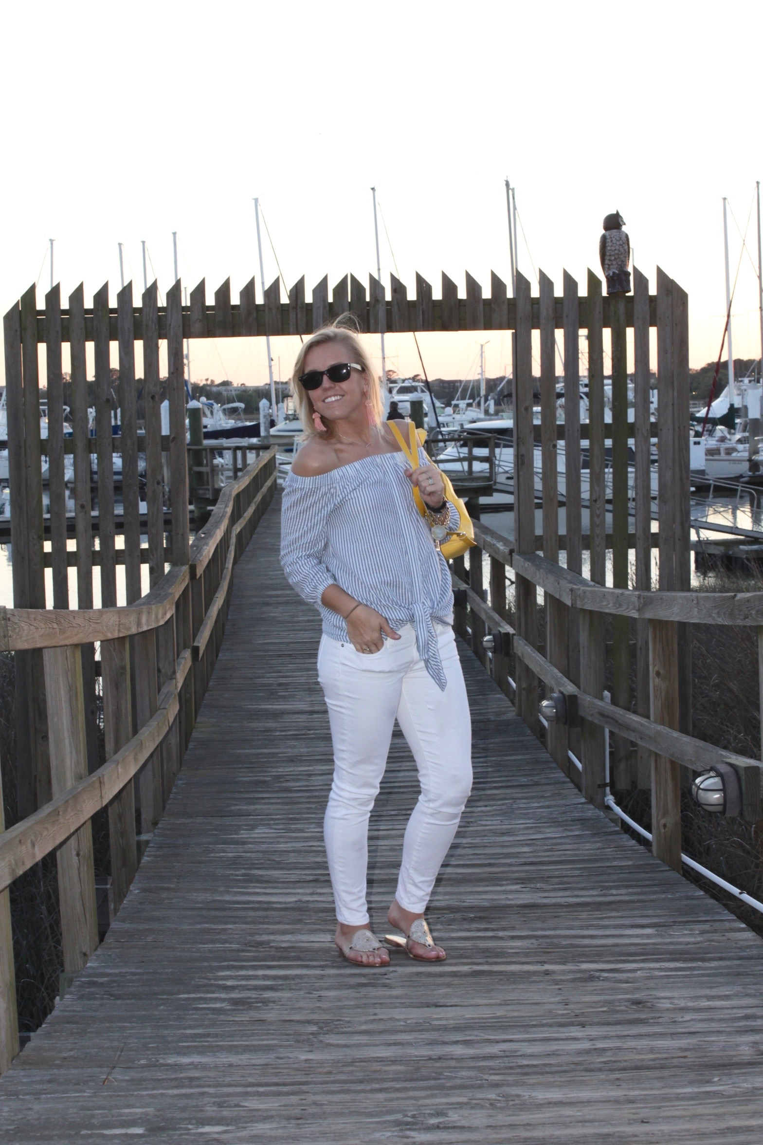 spring off shoulder top look