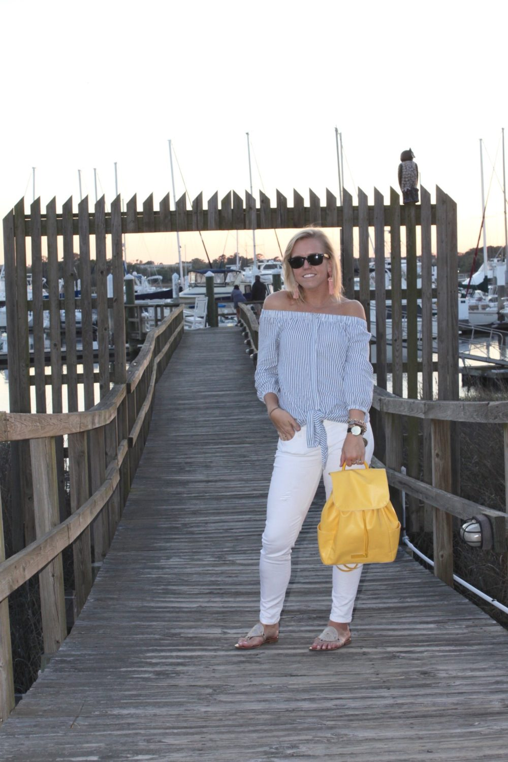 Off shoulder top white jeans