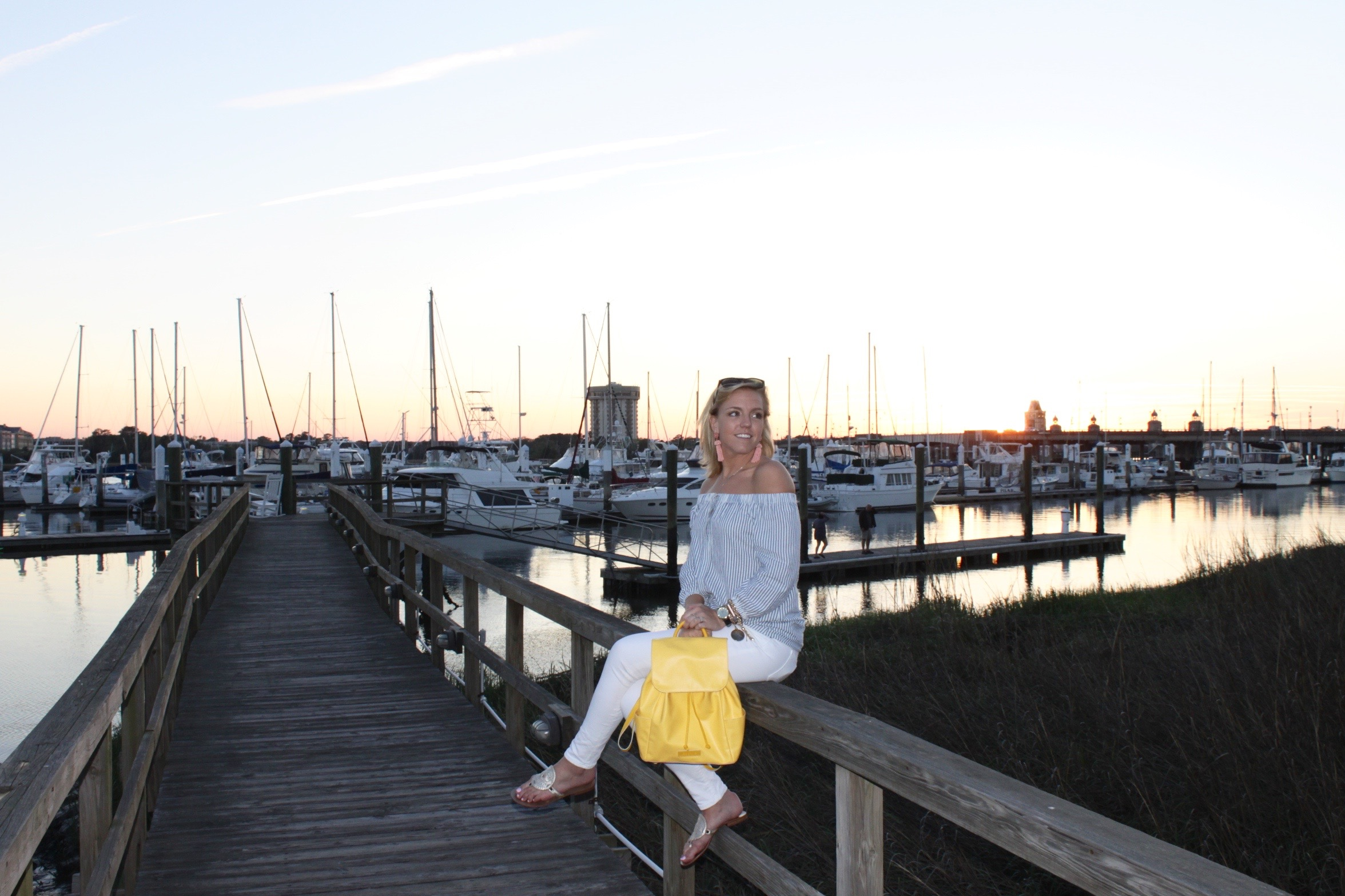 vacation style off shoulder stripe top