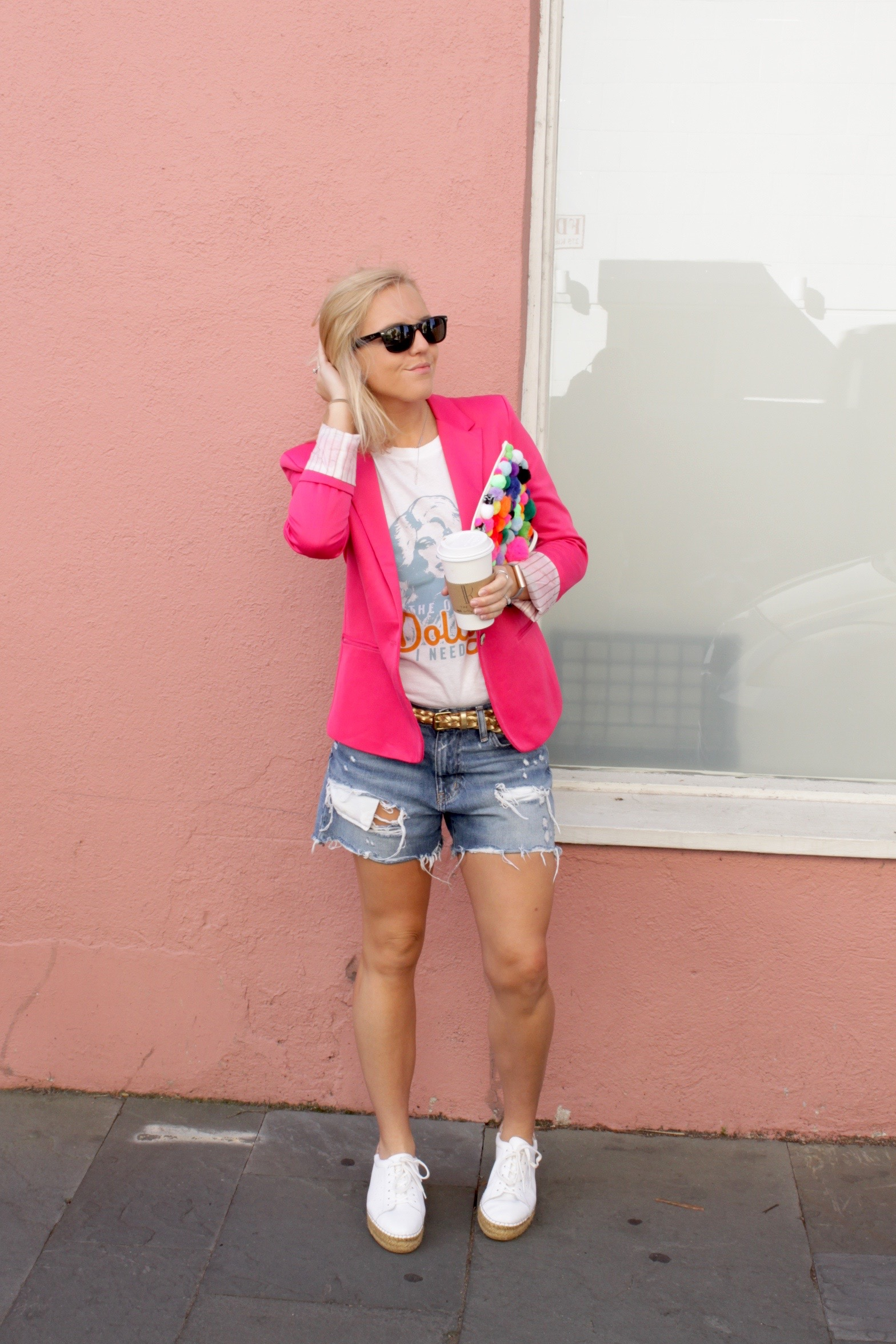 pink blazer denim bofriend shorts
