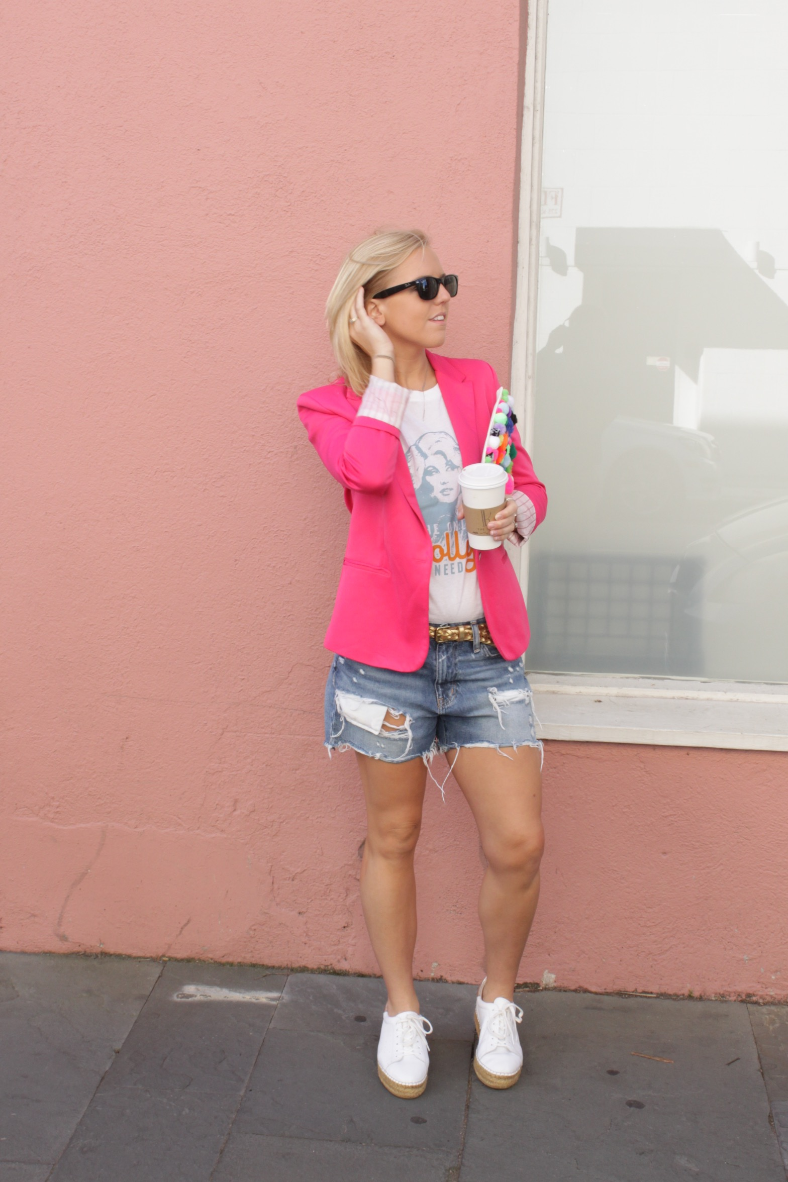 pink blazer boyfriend denim shorts
