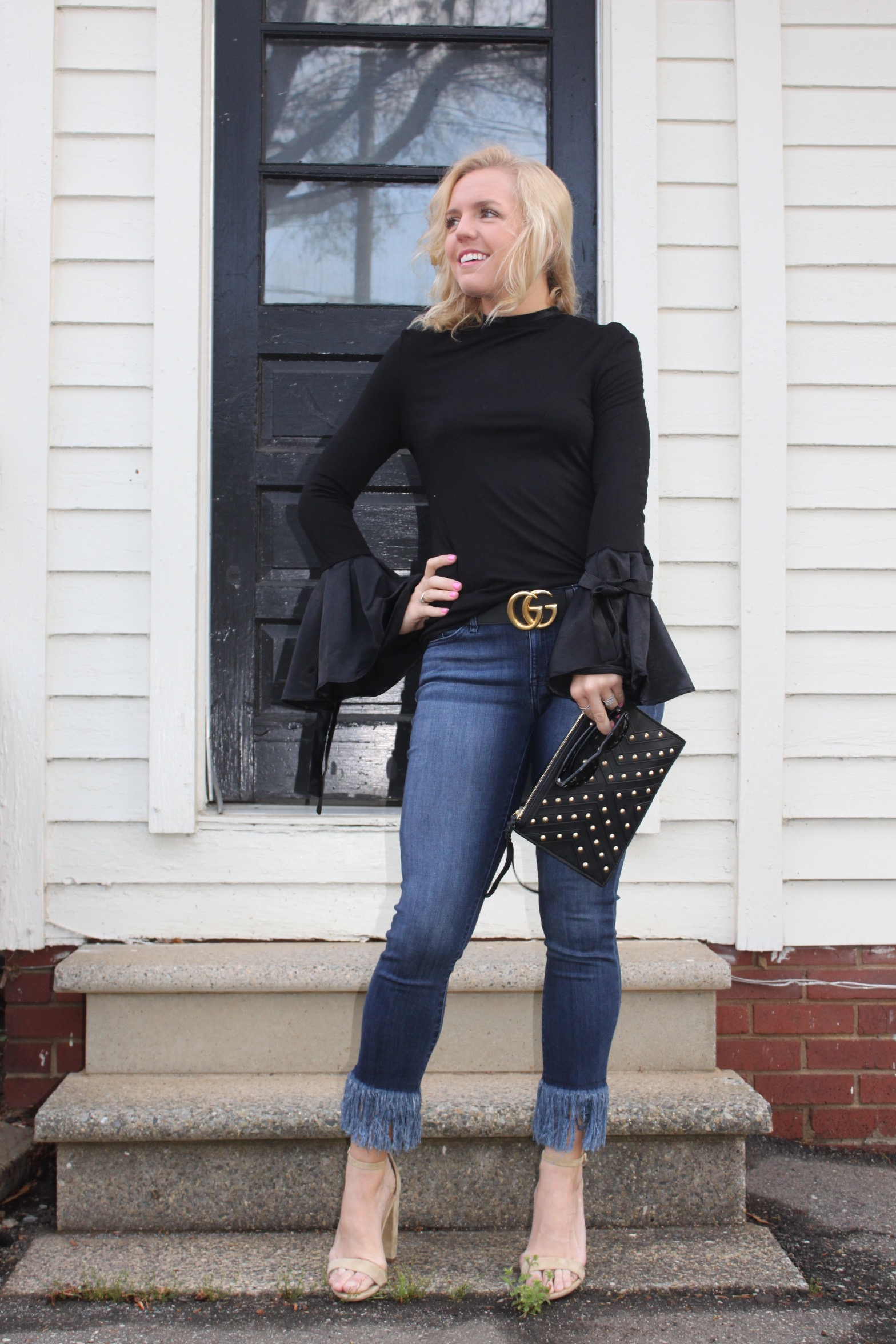 bell sleeve top with ties