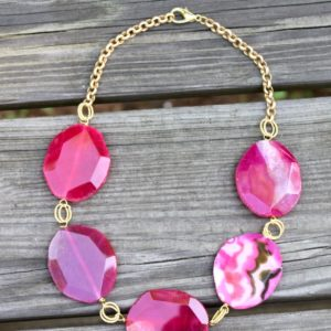 Pink Agate statement necklace