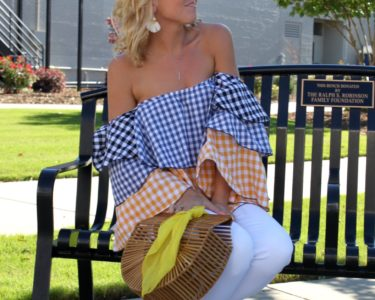 off shoulder gingham ruffles