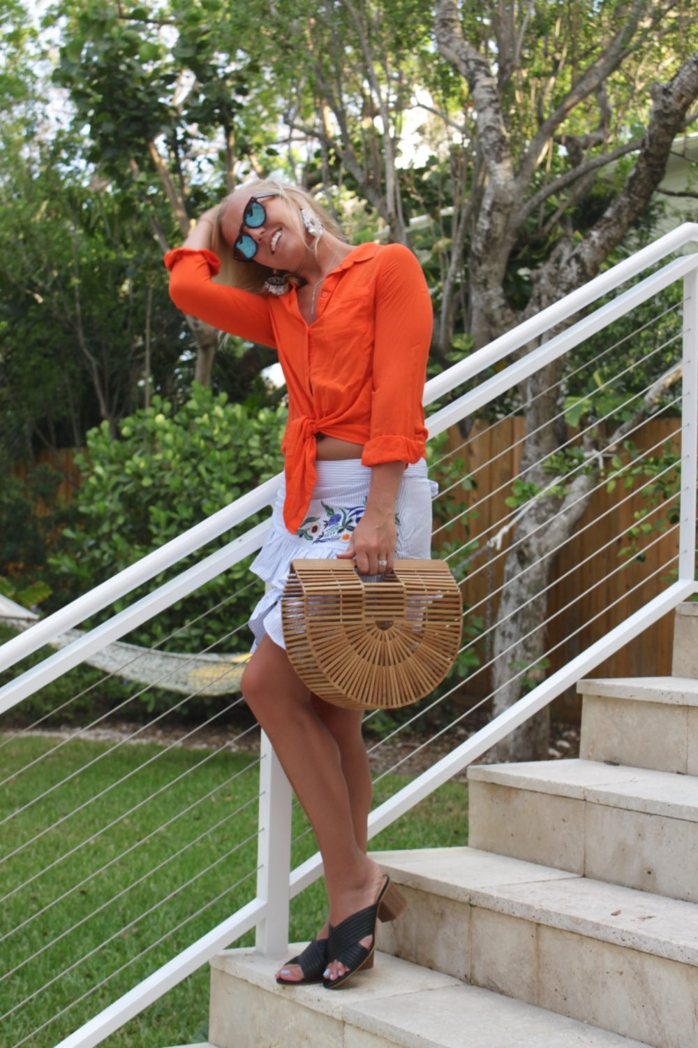 vacation style embroidered skirt