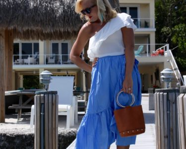 ruffle skirt one shoulder top