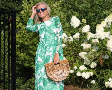 weding guest style palm print dress
