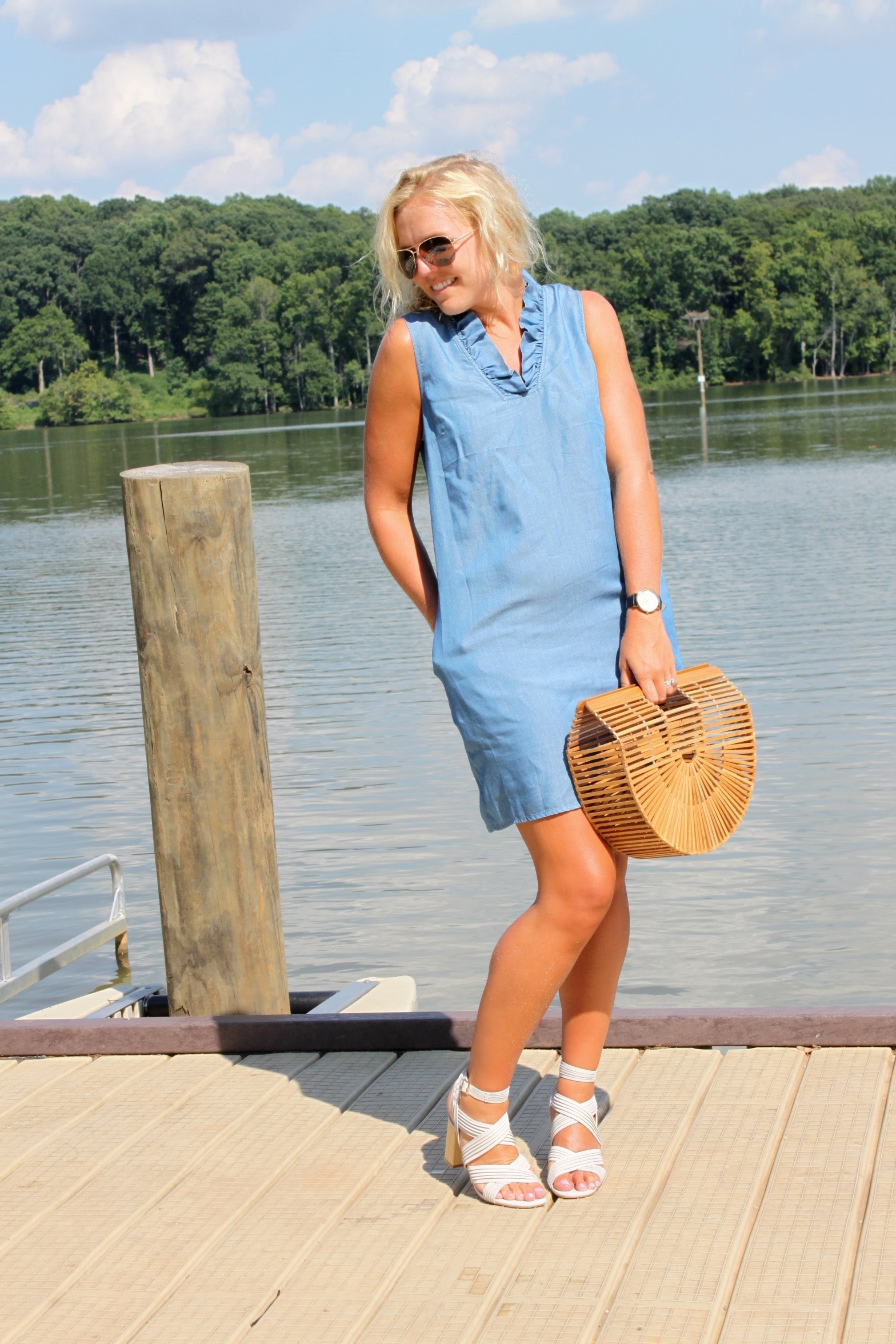 chambray dress with ruffles