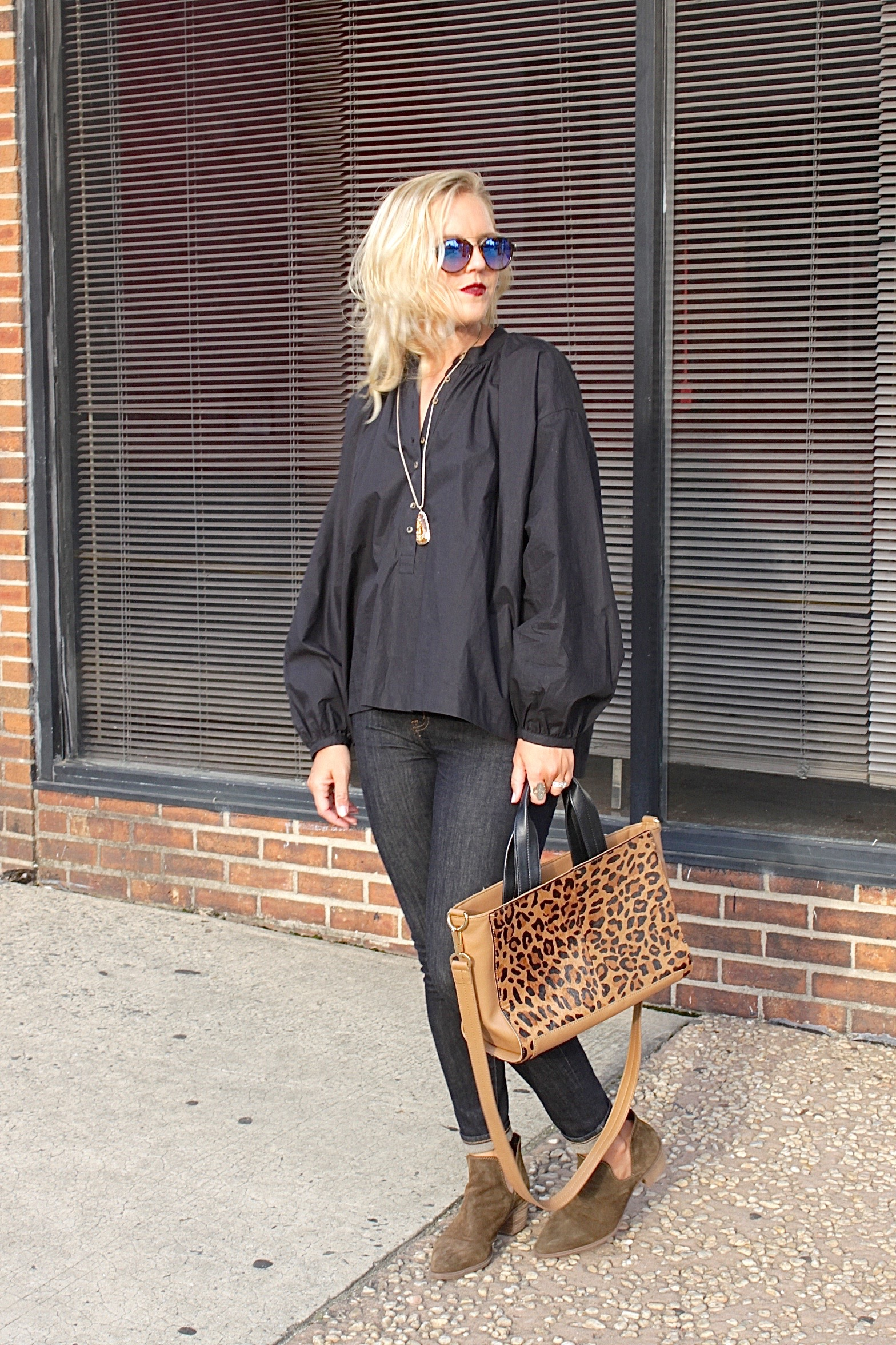 leopard and black balloon sleeve top