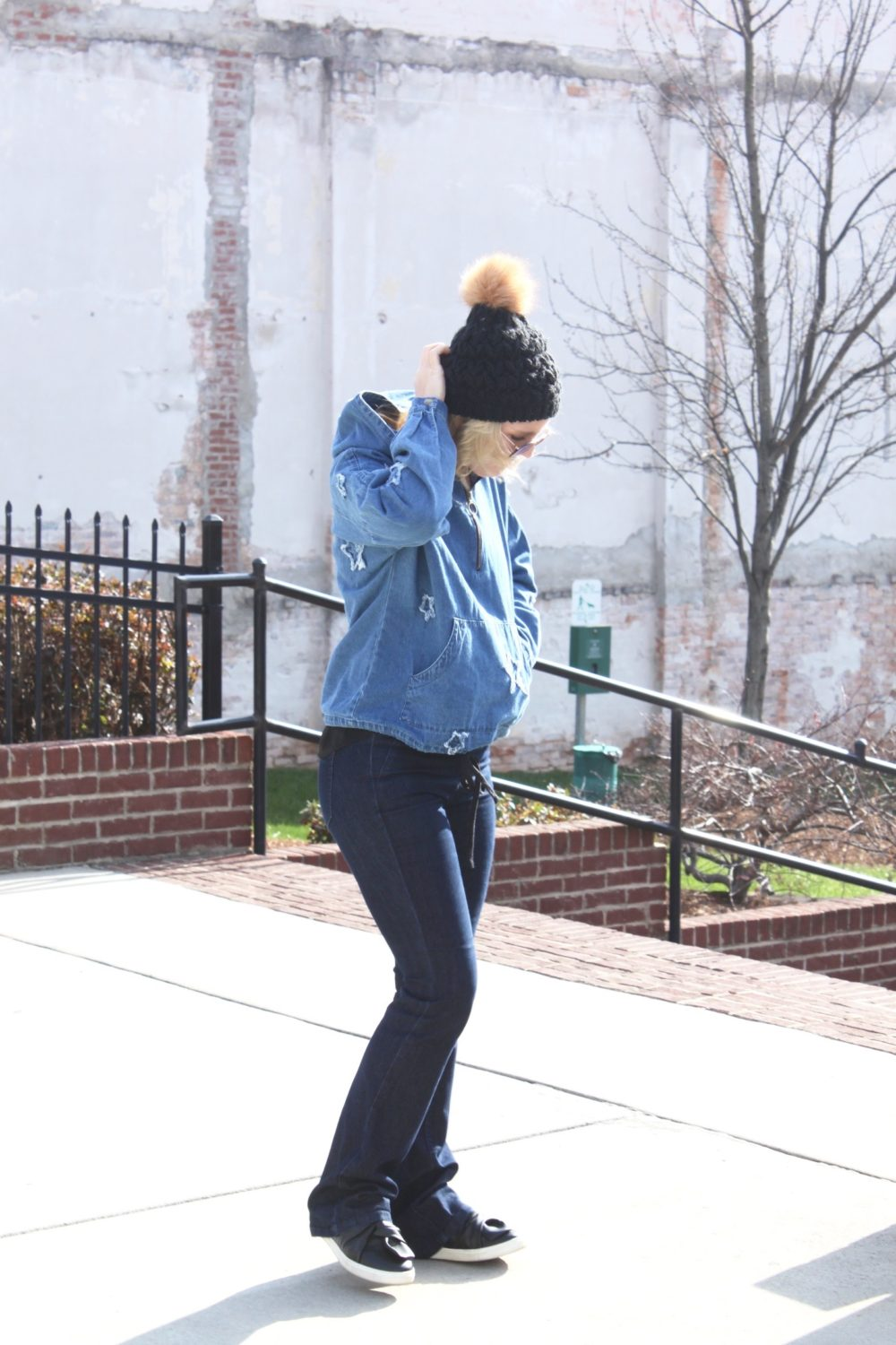 Denim and beanie casual look every day style
