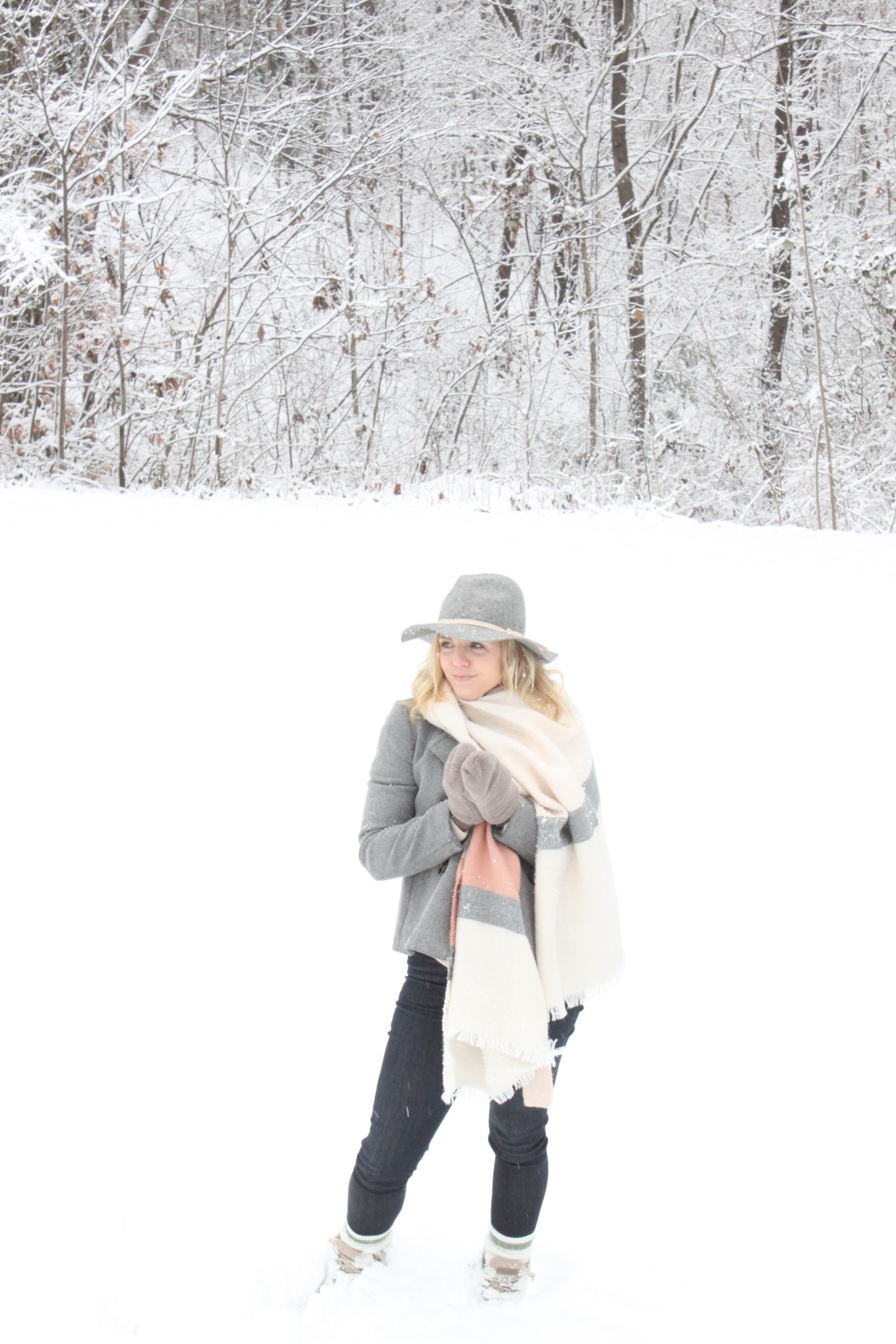 winter outfit peacoat and hat