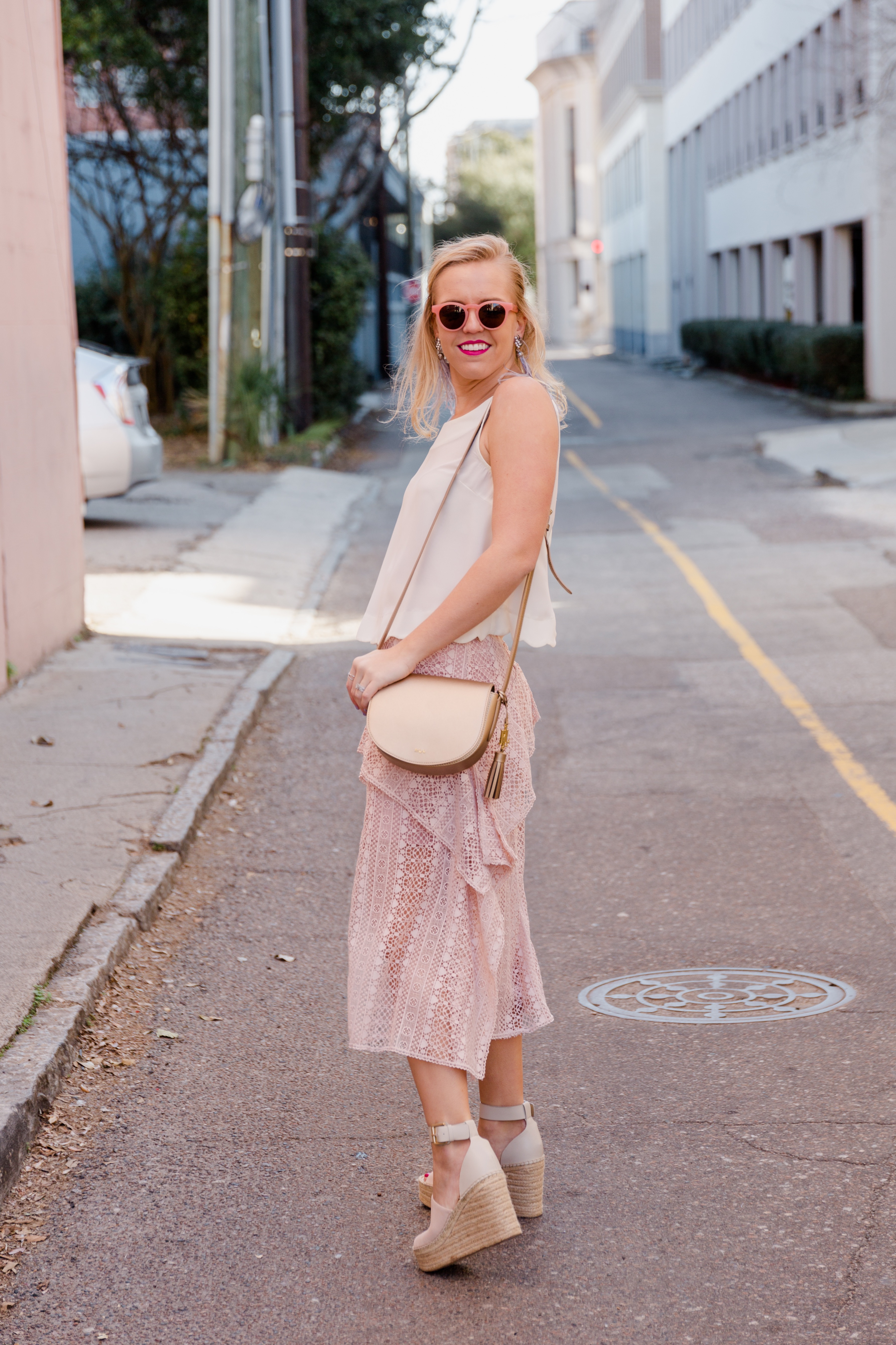 Valentine's Date Night Outfit Pink Skirt