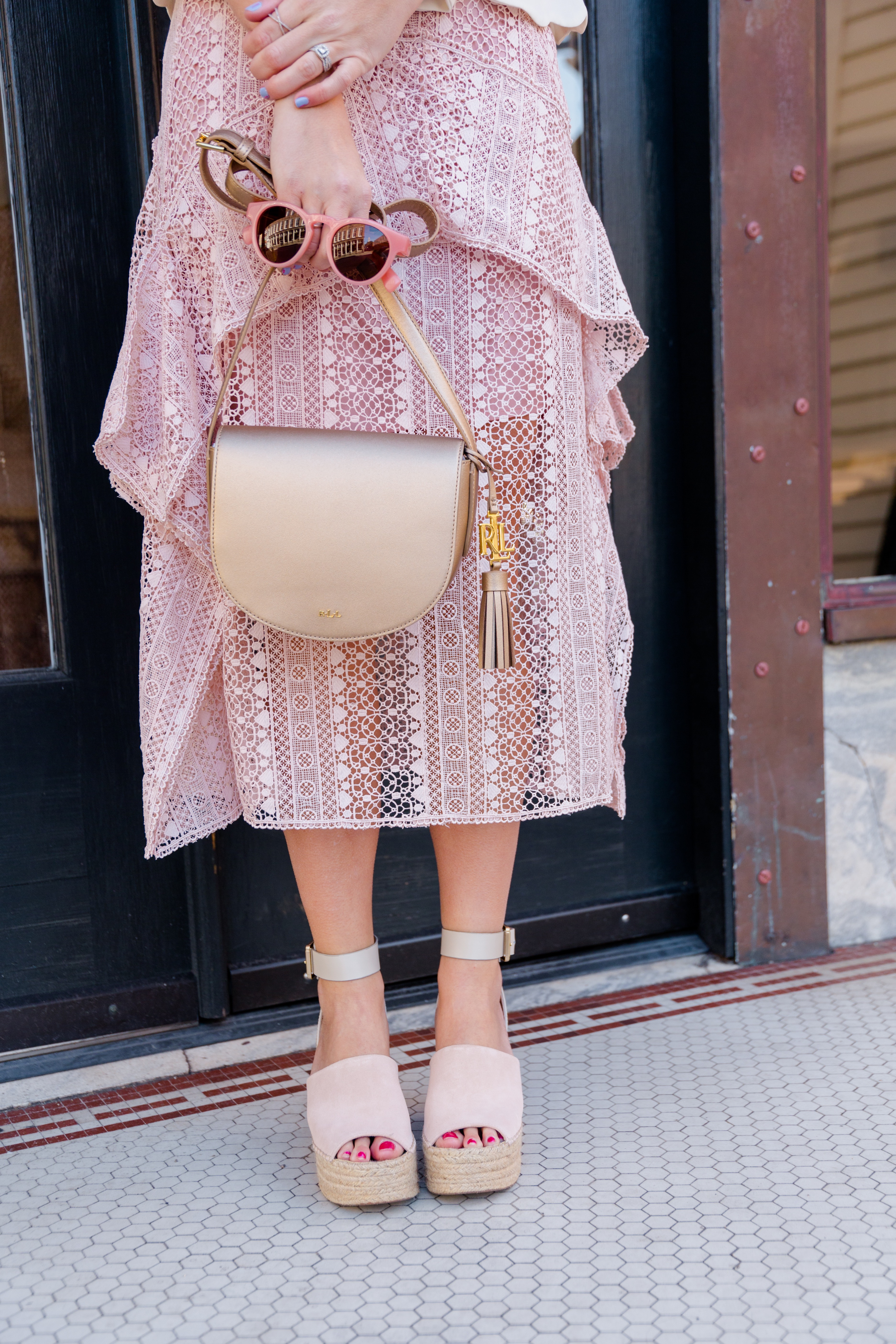 Valentine's Date Night Outfit Gold Crossbody