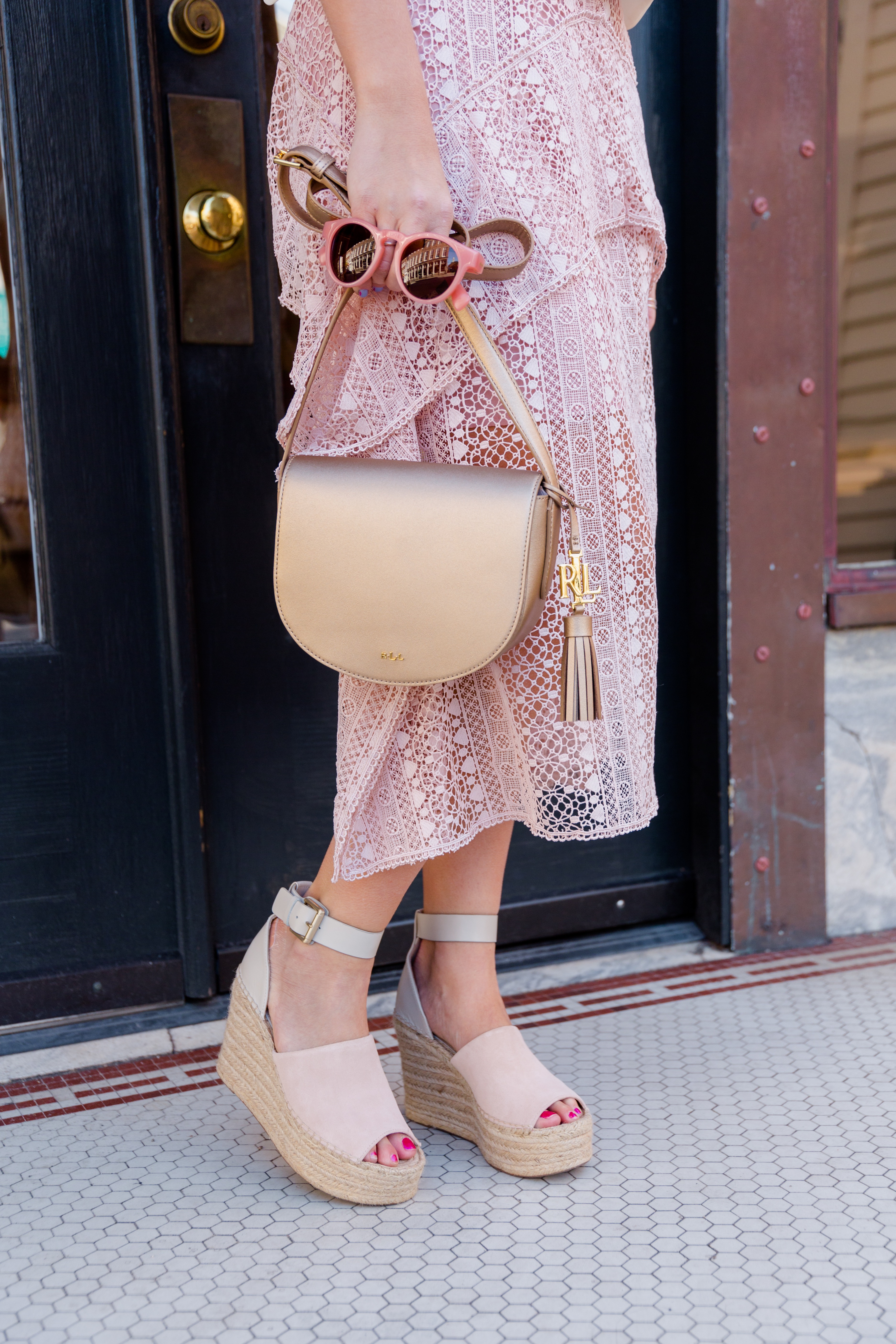 Valentine's Date Night Outfit Pink and Gold